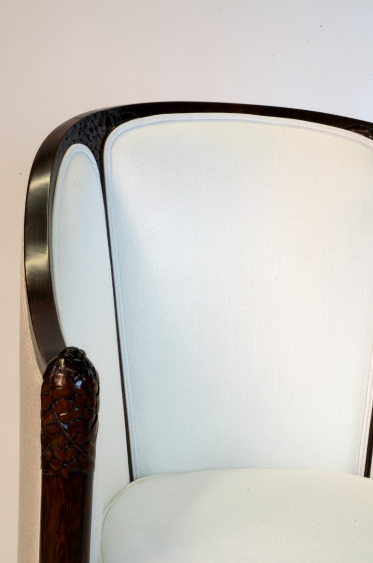 Mahogany Fine original Art Deco Bergère Armchair by A. Bicchierini For Sale