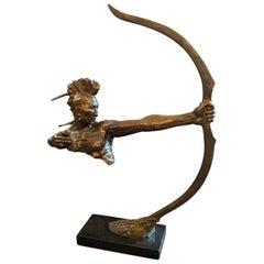 Fine Art Deco Bronze Sculpture Indian Native American Archer Bruno Zach Vienna