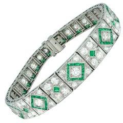 Fine Art Deco Emerald and Diamond Bracelet