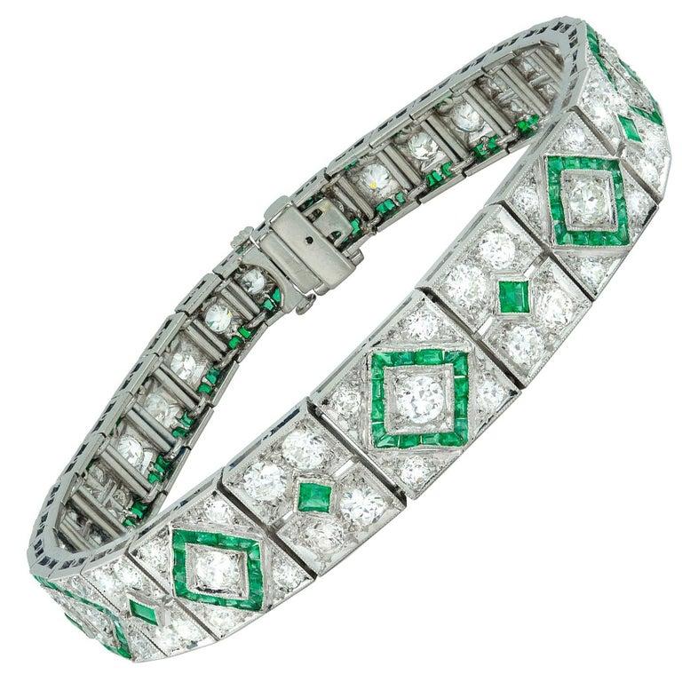 Fine Art Deco Emerald and Diamond Bracelet For Sale