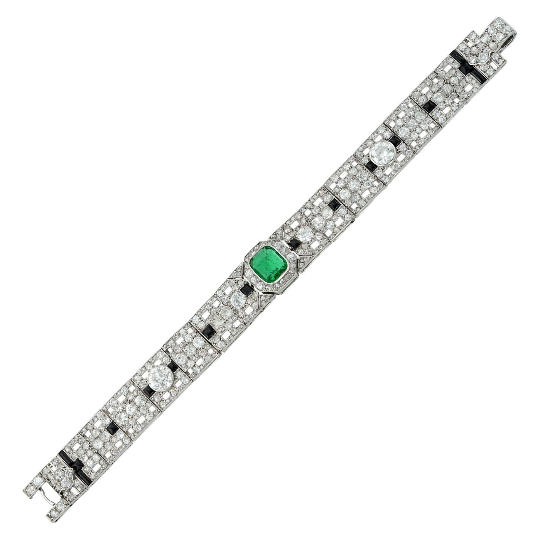 Fine Art Deco Emerald, Onyx and Diamond Bracelet