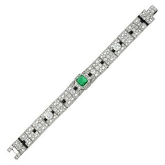 Fine Art Deco Emerald, Onyx and Diamond Bracelet