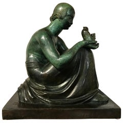 Fine Art Deco Patinated Bronze by Gaston Béguin, Representing a Woman with Bird