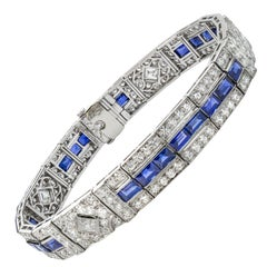 Fine Art Deco Tiffany & Co. Sapphire and Diamond Bracelet