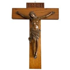 Fine Art Deco Wall Crucifix Depicting Bronze Corpus Mounted on an Oak Cross 1920