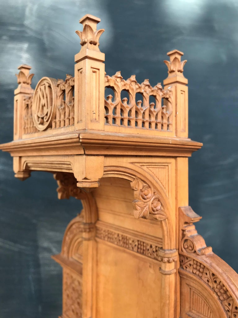 Fine art gothic revival miniature boxwood chapel stand for
