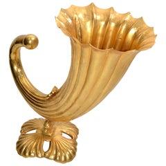 Fine Art Italian Gilt Bronze Cornucopia Vase Sea Serpent Decoration 20th Century