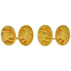 Fine Art Nouveau 14 Karat Gold Lion and Lioness Cufflinks