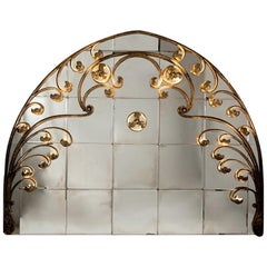 Fine Art Nouveau Bronze Arch with Vintage Mirror, Morocco, Early 20th Century