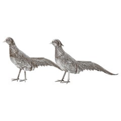 Fine Art Nouveau Silver Pheasants from Austria, Vienna Driven by Hand, Chased