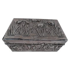 Fine Arthur & Bond Japanese Hand-Hammered Casket Box with Irises