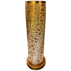"""Fine Artisan Handcrafted Floor Lamp """"Ribbon Floral"""" Tower"""