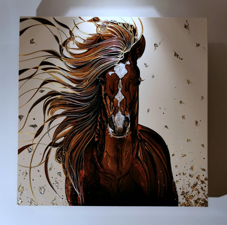The original painting by Local Artist, offering an accomplished unique modern design with unmistakable style and presence. Work made with the best pigments and hydrophobic acrylic resins in high gloss, high eye relief polymerized with Led, outlined