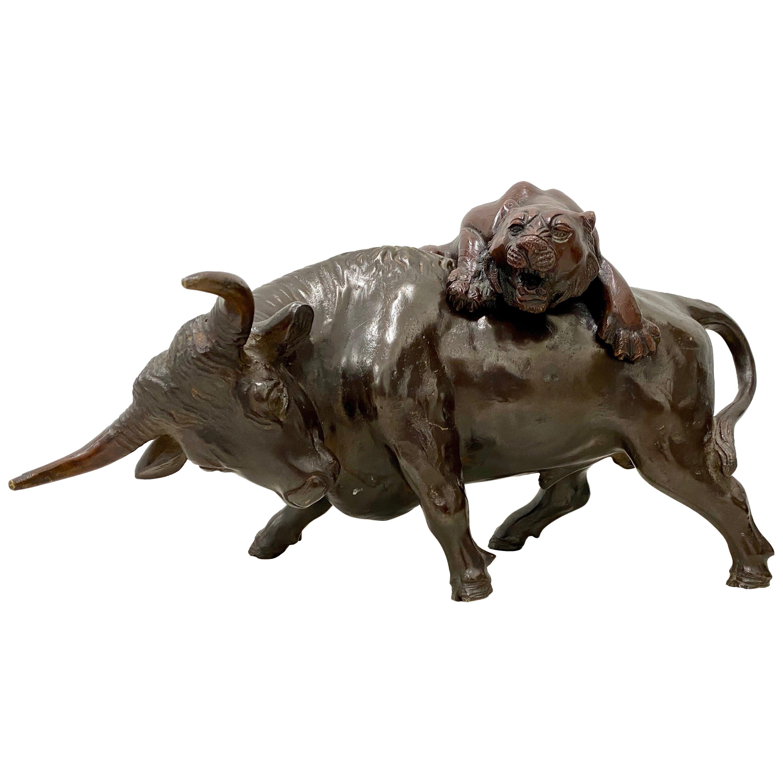 """Asian Bronze Sculpture """"The Lion and the Bull"""", 20th Century"""
