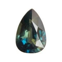 Fine Australian 1.81 Carat Green Blue Bi Color Sapphire Pear Teardrop Unique Gem