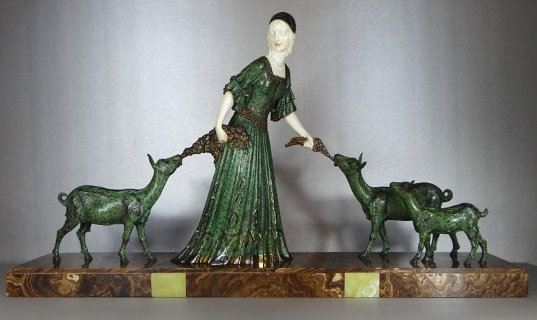 """Hand-Carved Fine Authentic Art Deco Figural Group """"Friends"""" by Demetre Chiparus For Sale"""