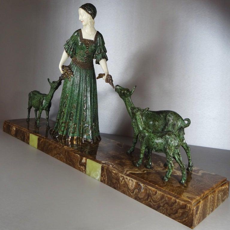 "Ivory Fine Authentic Art Deco Figural Group ""Friends"" by Demetre Chiparus For Sale"