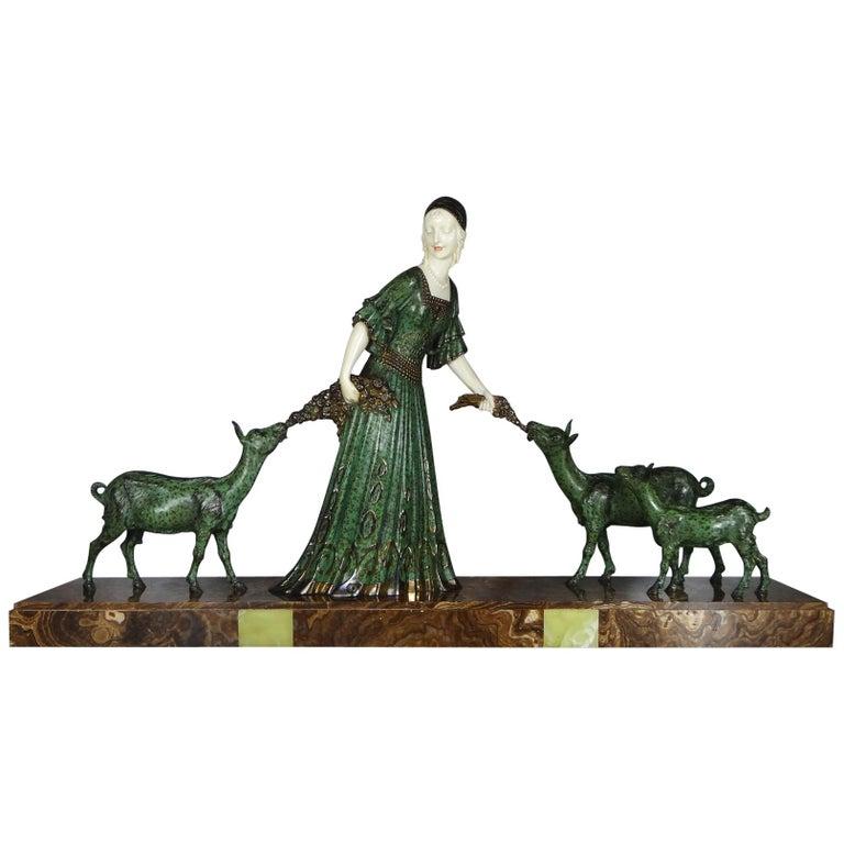 """Fine Authentic Art Deco Figural Group """"Friends"""" by Demetre Chiparus For Sale"""