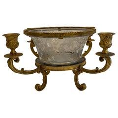 Fine Baccarat Ormolu Cut Crystal Chased Dore Bronze Candelabra Centerpiece Bowl
