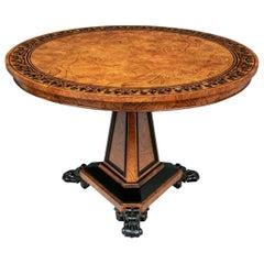 Fine Baker Burl Ash and Ebonized Wood Regency Style Center Table