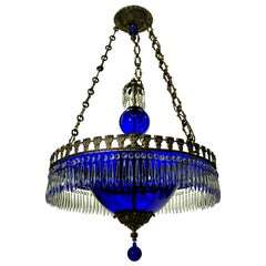 Fine Baltic Chandelier in Blue Glass