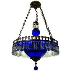 Fine Baltic Chandelier in Blue Glass