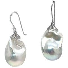 Fine Baroque Fresh Water Pearl 14 Karat White Gold Earrings Certified