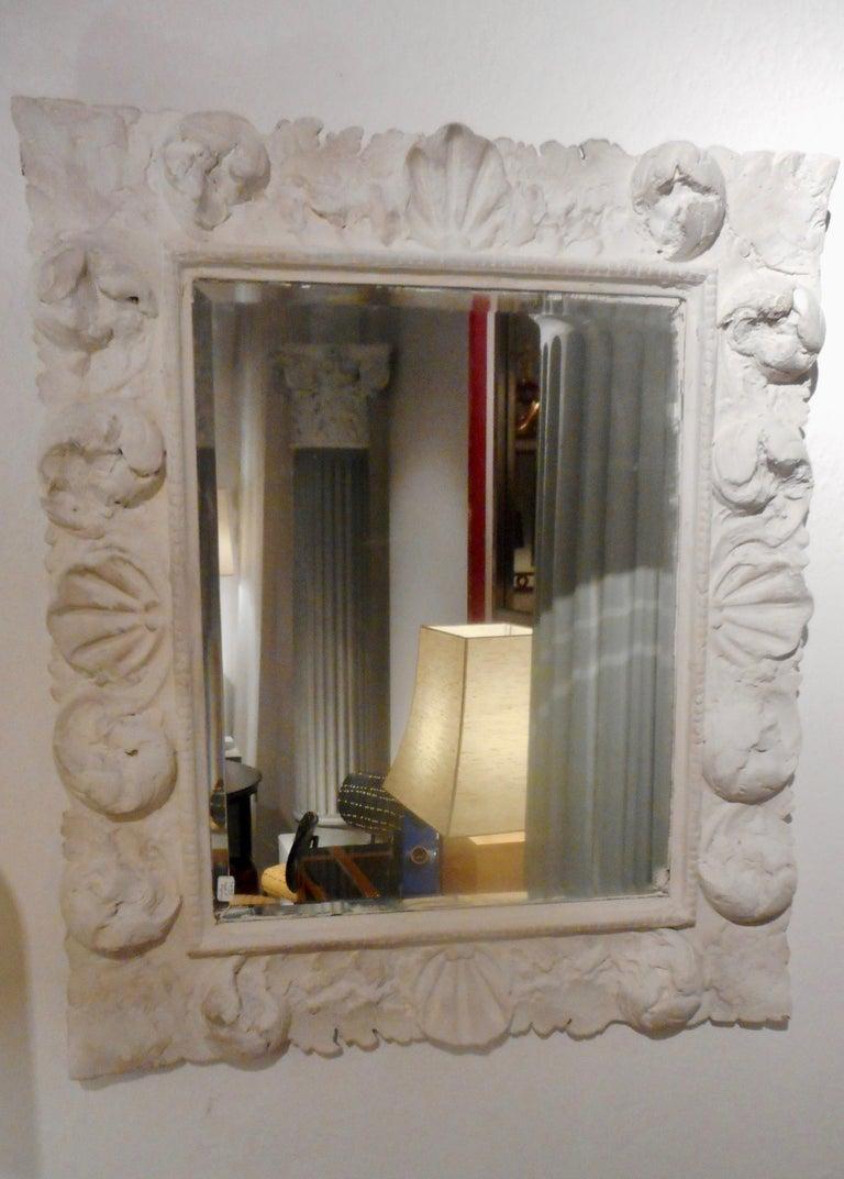 Fine Baroque Plaster Mirror, France 1940 4