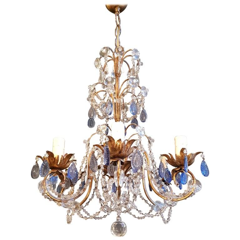 Fine Beaded Blue Crystal Chandelier Antique Ceiling Lamp Re Art Nouveau For