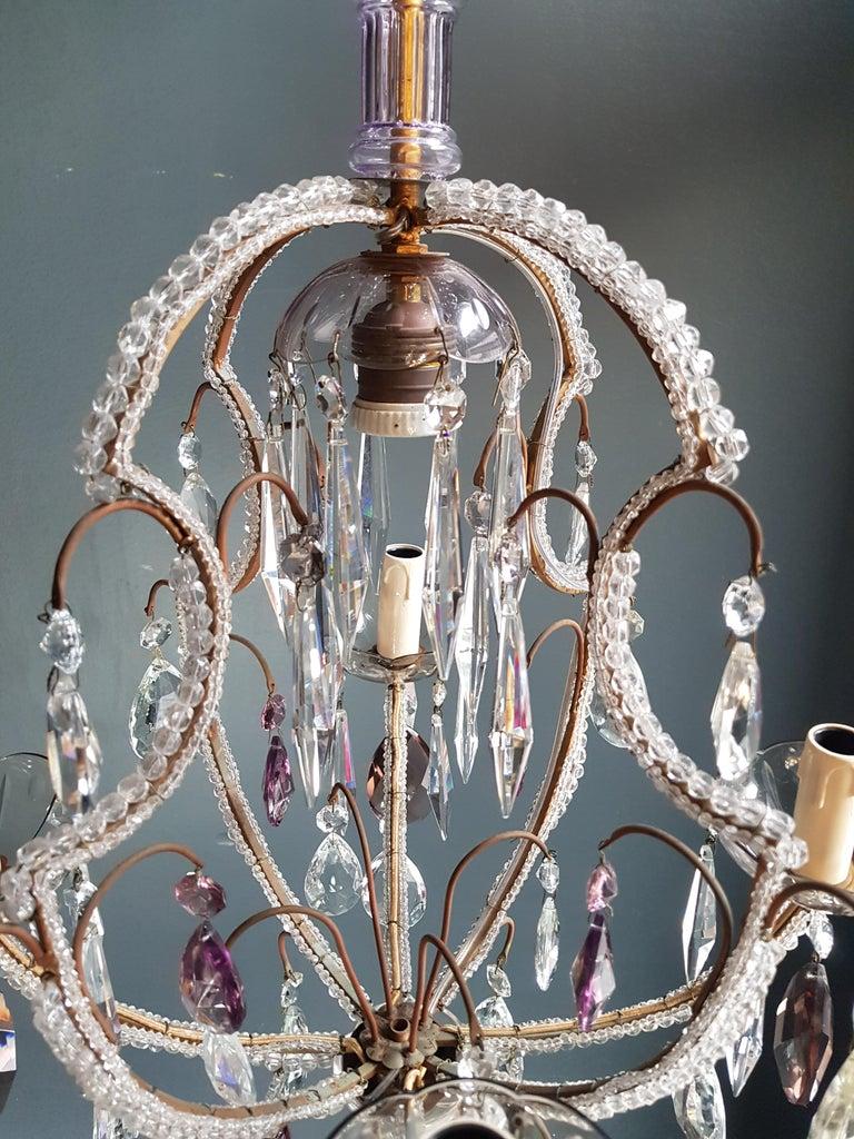 European Fine Beaded Cage Purple Crystal Chandelier Antique Ceiling Lamp Lustre Art Deco For Sale