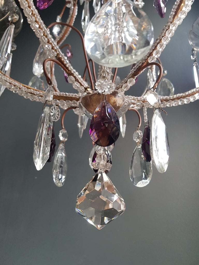 Hand-Knotted Fine Beaded Cage Purple Crystal Chandelier Antique Ceiling Lamp Lustre Art Deco For Sale