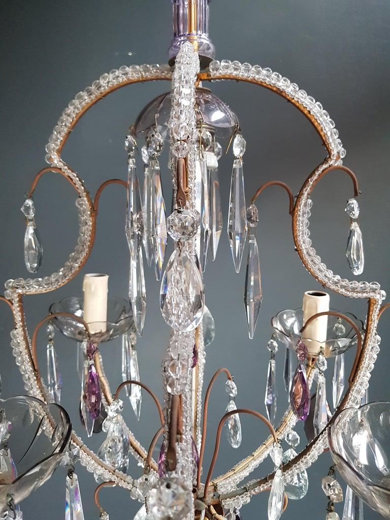 Fine Beaded Cage Purple Crystal Chandelier Antique Ceiling Lamp Lustre Art Deco 6