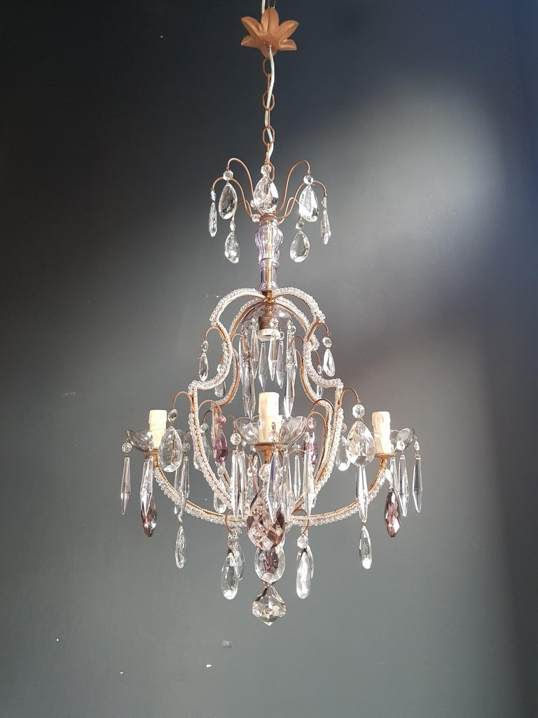 Mid-20th Century Fine Beaded Cage Purple Crystal Chandelier Antique Ceiling Lamp Lustre Art Deco For Sale
