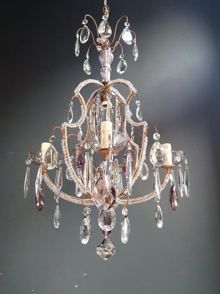 Fine Beaded Cage Purple Crystal Chandelier Antique Ceiling Lamp Lustre Art Deco 8