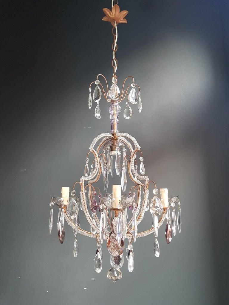 Fine Beaded Cage Purple Crystal Chandelier Antique Ceiling Lamp Lustre Art Deco 9