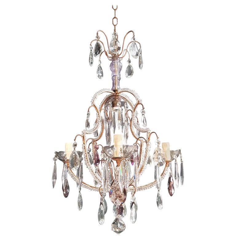 Fine Beaded Cage Purple Crystal Chandelier Antique Ceiling Lamp Lustre Art Deco 1