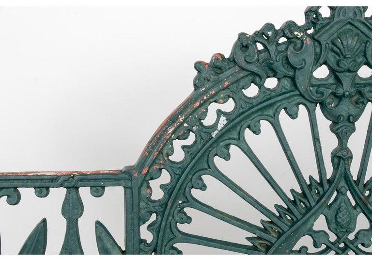 Fine Belle Époque Era Antique Painted Iron Garden Bench For Sale 6