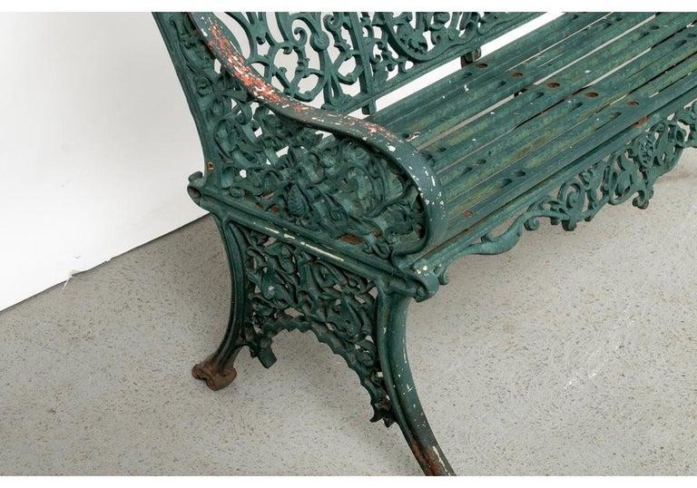 Fine Belle Époque Era Antique Painted Iron Garden Bench For Sale 7