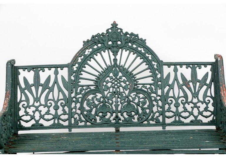 Fine Belle Époque Era Antique Painted Iron Garden Bench In Good Condition For Sale In Bridgeport, CT