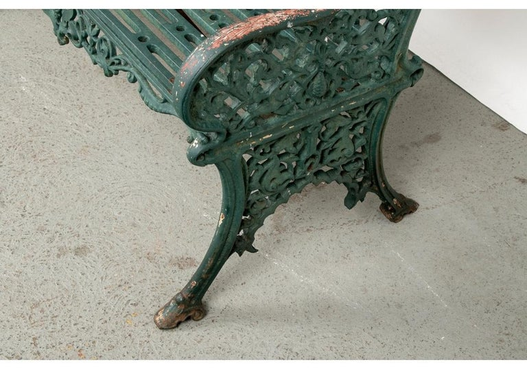 19th Century Fine Belle Époque Era Antique Painted Iron Garden Bench For Sale