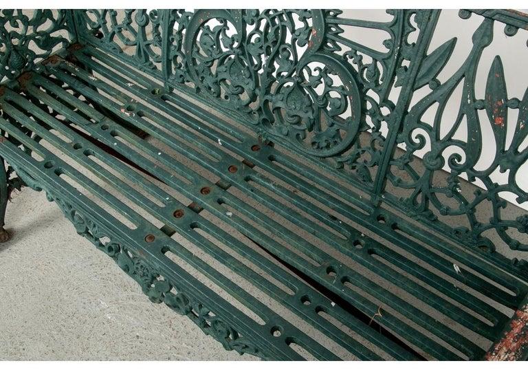 Fine Belle Époque Era Antique Painted Iron Garden Bench For Sale 1