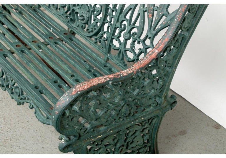 Fine Belle Époque Era Antique Painted Iron Garden Bench For Sale 2