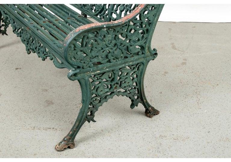 Fine Belle Époque Era Antique Painted Iron Garden Bench For Sale 3
