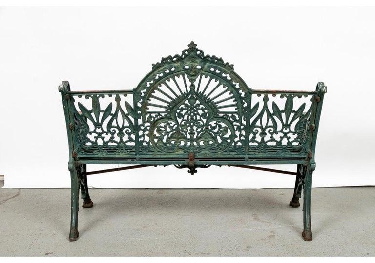 Fine Belle Époque Era Antique Painted Iron Garden Bench For Sale 5