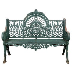 Fine Belle Époque Era Antique Painted Iron Garden Bench