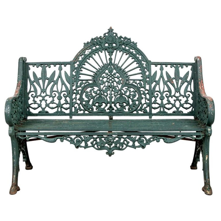 Fine Belle Époque Era Antique Painted Iron Garden Bench For Sale