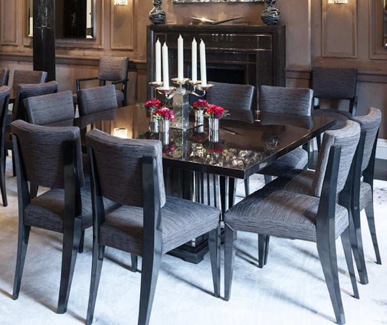 Fine Bespoke Dining Room Table, Veneer Wood Top and Base with Chrome Inserts For Sale 4