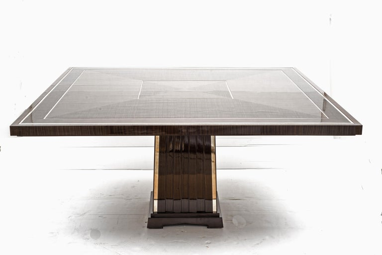 Fine Bespoke Dining Room Table, Veneer Wood Top and Base with Chrome Inserts For Sale 5
