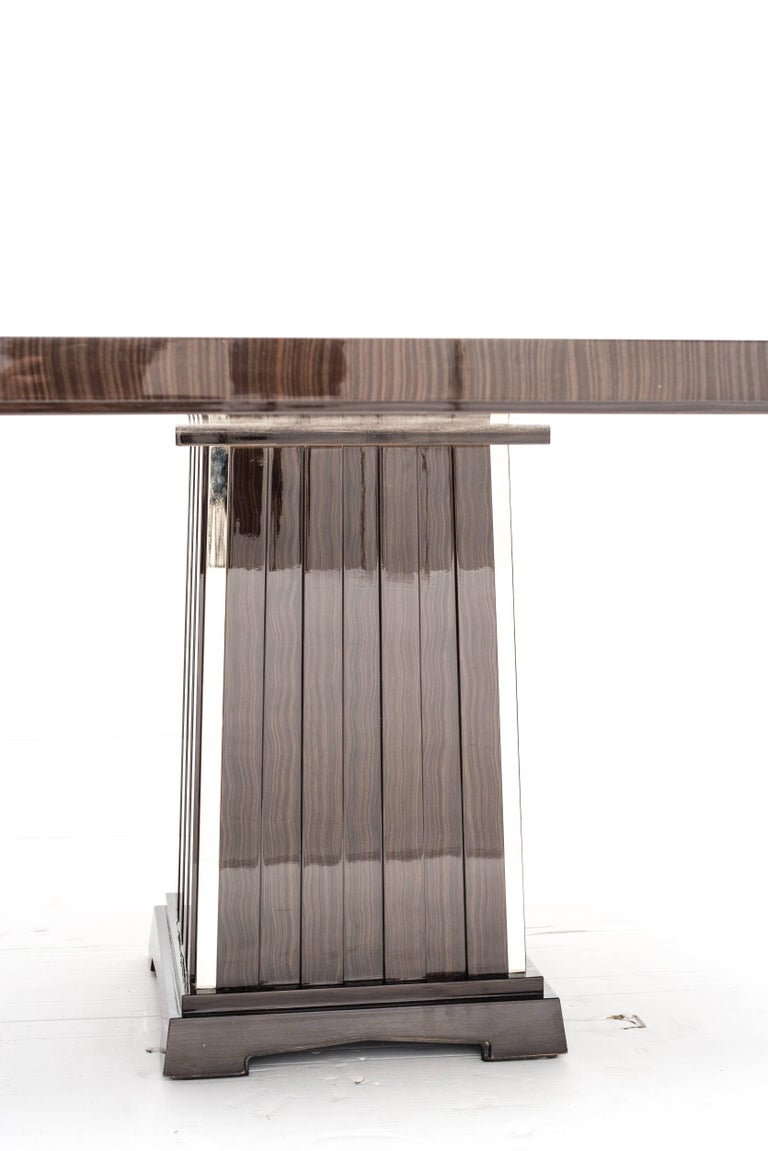 Art Deco Fine Bespoke Dining Room Table, Veneer Wood Top and Base with Chrome Inserts For Sale