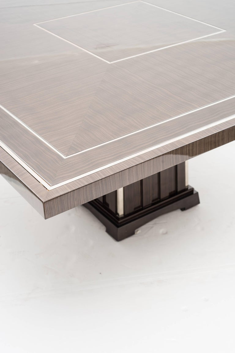 Italian Fine Bespoke Dining Room Table, Veneer Wood Top and Base with Chrome Inserts For Sale